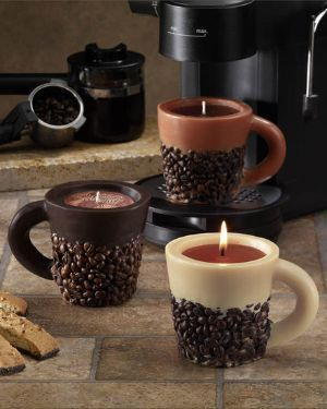 Coffee Bean Cup Candles. I love how they even placed a cup on a coffee machine in the background.