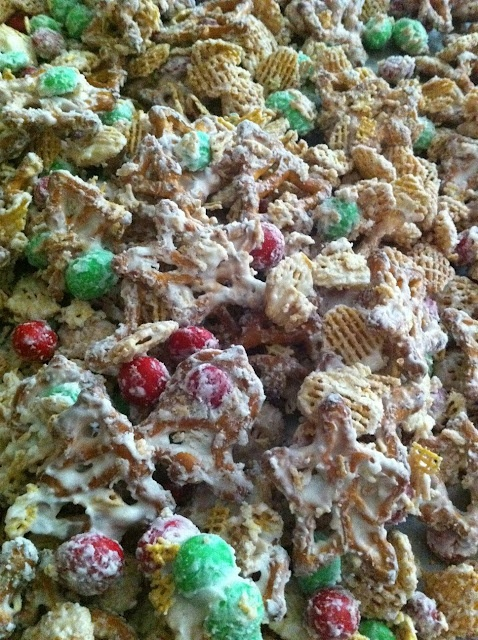 Christmas White Trash! So good! I have made this before, just I use Kix cereal instead of the Crispix cereal and peanuts instead of M