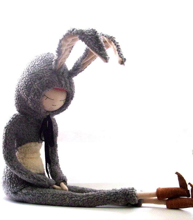 Giant bunny girl textile sculpture, art doll, cloth doll , handmade...the cat in…