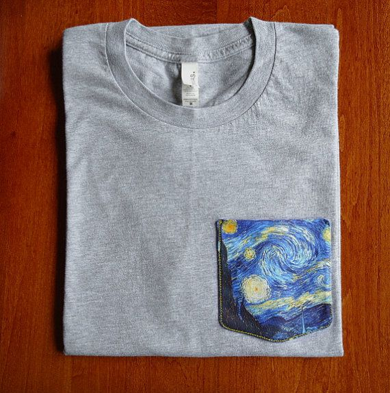 Vincent Van Gogh Pockets are sewn onto a combed ringspun cotton t shirt. These shirts are supremely soft and a unisex fit. Women are recommended to wear one size down. Sizes S-XL. Scroll through the photos to view different shirt color options. At checkout, please tell me your shirt size and color preference. Follow us on Instagram @gray_prints  International orders- If your ordering a shirt from outside the U.S. please tell me your phone number at checkout. Its a requirement to pass through…