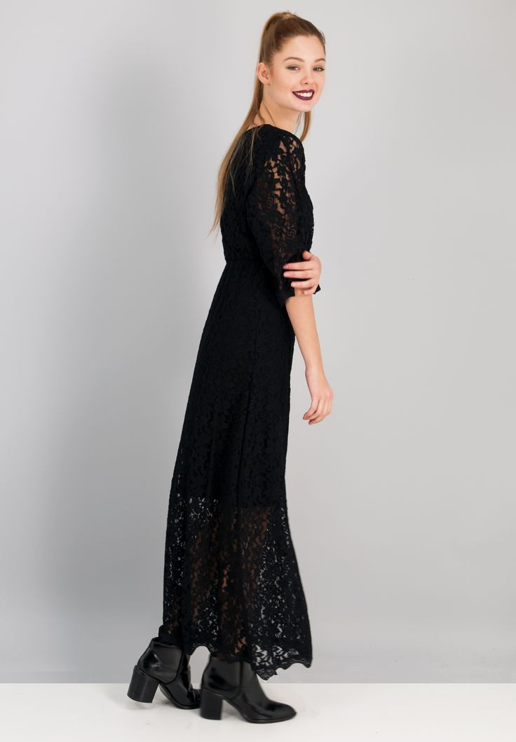 Maxi κρουαζέ δαντελένιο φόρεμα.