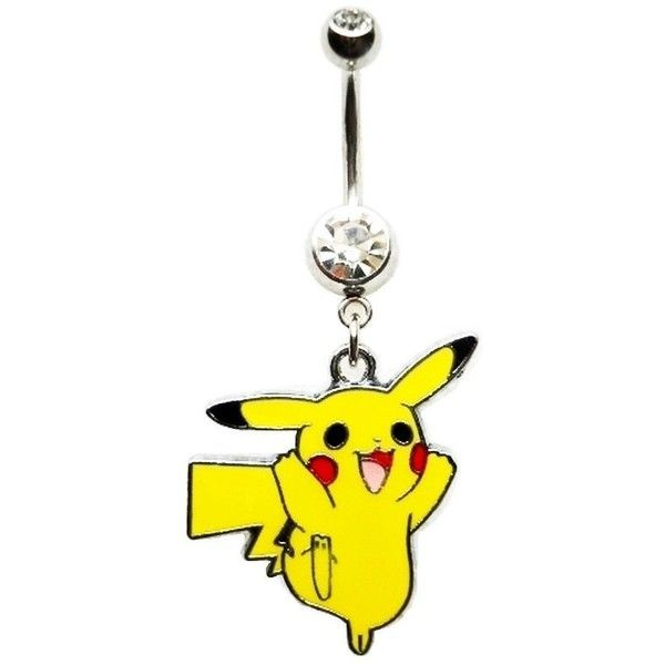 PIKACHU POKEMON CHARACTER GAMER Navel Belly Button Ring Body Jewelry... ($6.99) ❤ liked on Polyvore