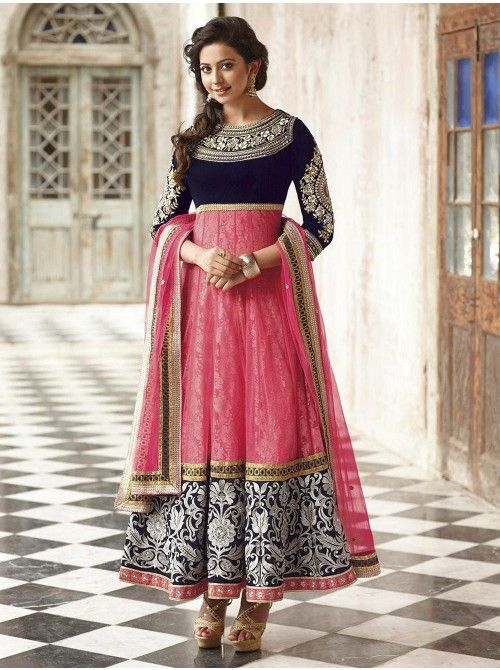 Light Pink Net Anarkali Suit With Embroidery Work