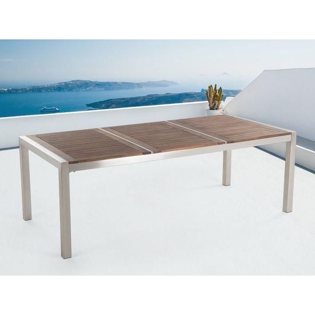 Beliani Table de jardin acier inox - plateau en bois - triple 220 cm ...
