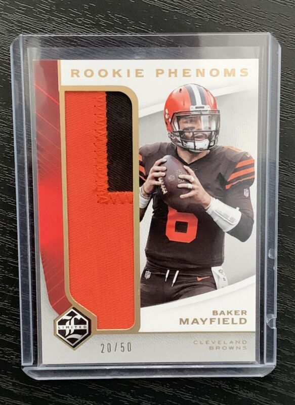 premium selection c12b9 d1867 2018 Limited Baker Mayfield Jumbo Patch Rookie Card #20/50 ...