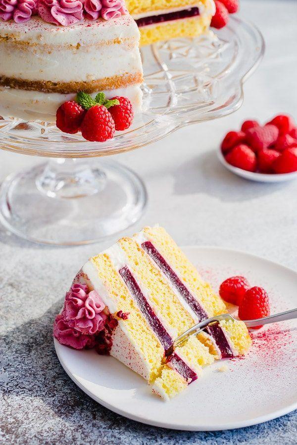 Himbeer-Torte mit Frischkäse-Zuckerguss – #Cake #Cheese #Cream #Frosting …   …