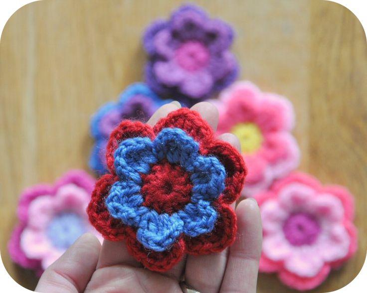 Grietjekarwietje: Haakpatroon: Dubbele bloem