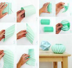 lampe origami en papier vert menthe - tuto en photos Plus