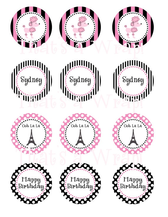 Pink Poodle in Paris Party Circles Cupcake Toppers by thatsawrap2, $8.00