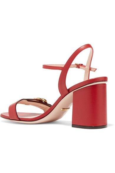 Gucci - Embellished Leather Sandals - Red - IT38.5
