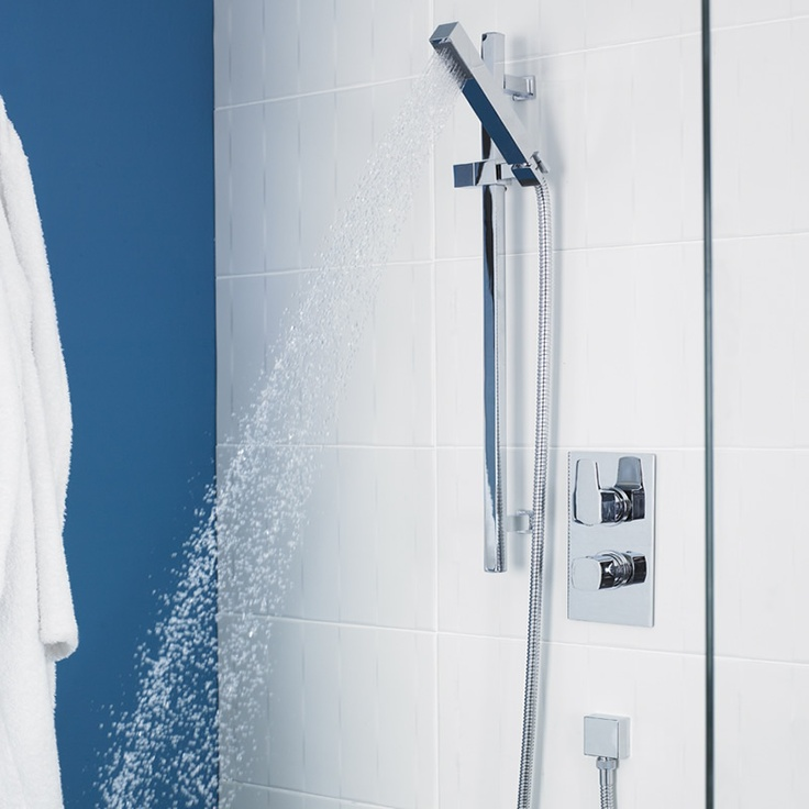Slide Rail Kit with Series 130 Concealed Thermostatic Twin Shower Valve from the Kubix collection by Ultra.