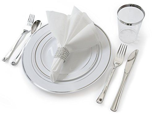 """OCCASIONS"" Full set - Wedding Disposable Plastic Plates, plastic silverware, silver rimmed tumblers and linen like napkins w/napkin rings (settings for 40 guests)"