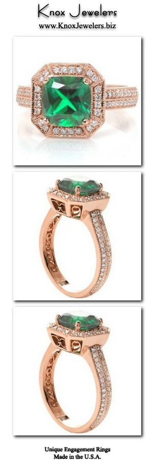 A regal setting craf  A regal setting crafted in 14k rose gold, this unique engagement ring design presents a bold statement piece. The cushion cut emerald is framed with an impressive bevel corner micro pavé halo supported by a double-row micro pavé band. The center basket, bevel corners and inside plate are finished with hand formed filigree. For more information about this custom ring, click on pin.