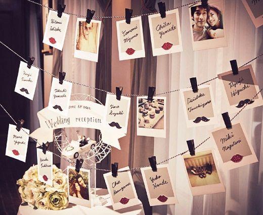 パーティ会場に飾るエスコートカード。カードの裏には花婿&花嫁からゲストへのメッセージが書かれていたり。オリジナルのアイディアでゲストをおもてなし。#AneCan #wedding #party #DIY #ウェディング