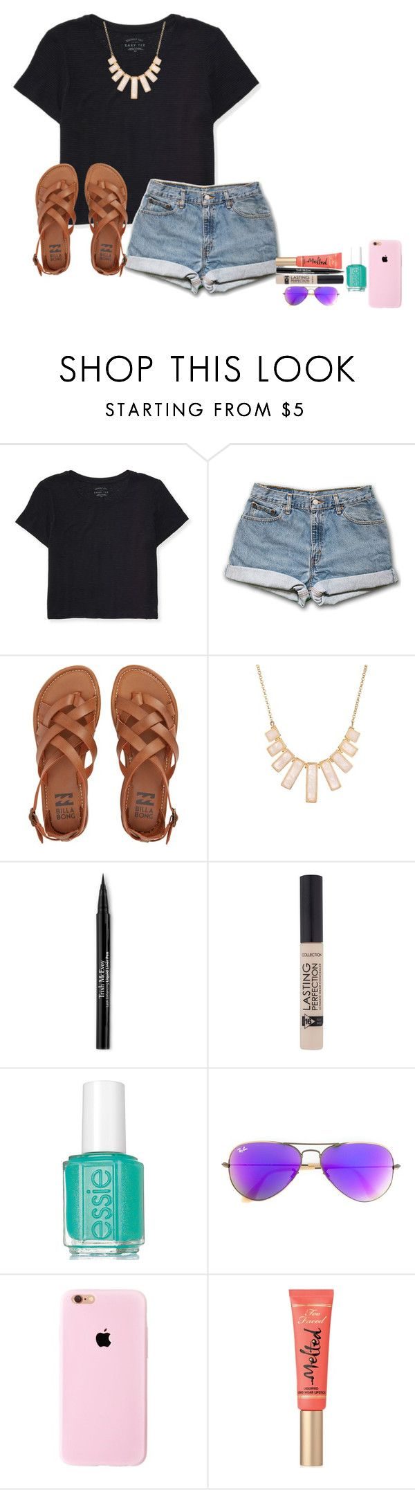 """Cool girl"" by amaya-leigh ❤ liked on Polyvore featuring Aéropostale, Billabong, Rivka Friedman, Trish McEvoy, Ray-Ban and Too Faced Cosmetics"