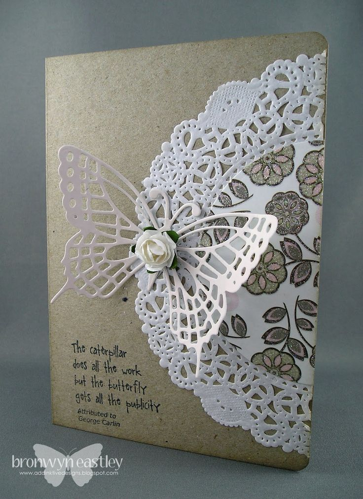 Any doily on a card makes it special. / This could be adapted for a book cover, using a cotton doily, stitched on fabric! v2