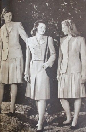 1940s teenager clothing suits skirt and jacket. An alternative to the sweater was to wear a tailored jacket with matching skirt. These two peice suits were worn for school and church but hardly anywhere else. To teens they were too matronly and too stiff ~