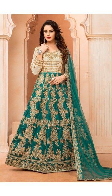#Diwali2017 - Beige And Green Taffeta Silk Anarkali Churidar Suit With Dupatta - DMV14743