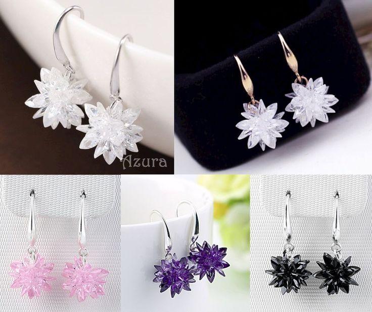 AAA Zircon Crystal Snow Flower Snowflake Drop Dangle 925 Silver Earrings #Unbranded #DropDangle