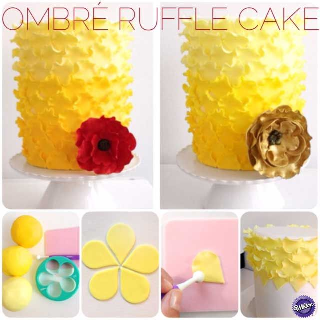 Learn how to make an Ombre Ruffle Cake using Fondant.