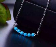 Verde turquesa Natural Collar de piedra natural de la piedra preciosa Colgante S925 Collar de plata Joyería de Moda Elegante burbuja Circular(China)