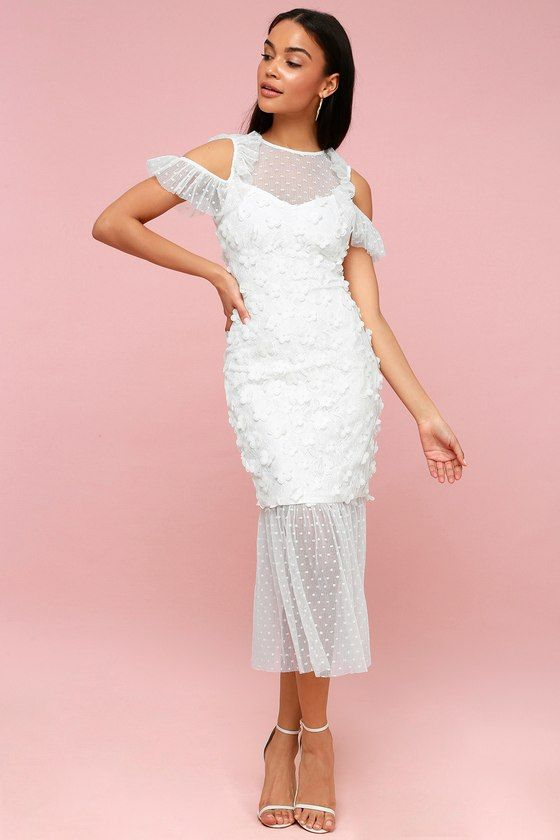 cb326f5c70 The Ellliatt Oberon White Lace Off-the-Shoulder Midi Dress adds an instant  dose of romance to every occasion! Delicate mesh shapes an illusion  neckline and ...