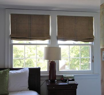 Coffee Sack Roman Shades - eclectic - bedroom - nashville - Camille Moore Window Treatments & Custom Bedding