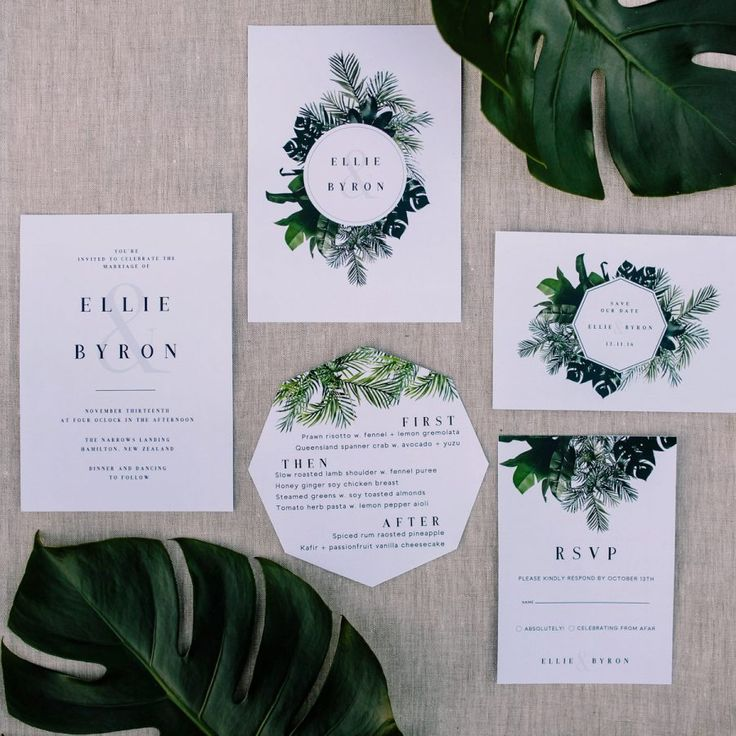 modern jungle-inspired wedding stationery #greenery