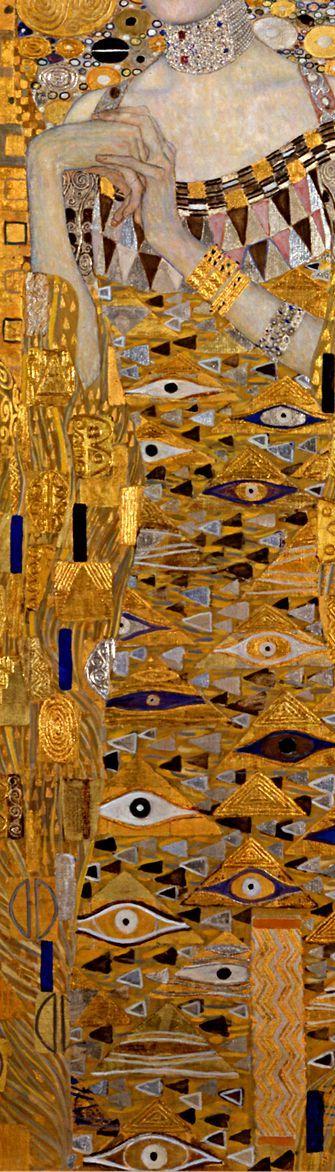 "Gustav Klimt: Adele Bloch-Bauer (Detail): The height of Klimt's ""Golden Style"" In-depth analysis and art prints: http://www.gustavklimtthekiss.com/projects/klimtadeleblochbauer1907/ #gustav_klimt"