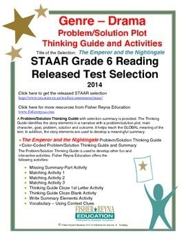 This classroom tested product includes the complete analysis for the STAAR released test selection: The Emperor and the Nightingale. It is released as a 6th grade selection, but may serve as a model for how a drama with a problem/solution plot text should be analyzed for comprehension.