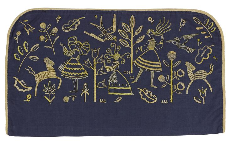 Dark blue linen bed-head cover embroidered with coloured cotton threads in different stitches showing women, and animals amidst flowers and plants: Scottish, Glasgow, by Rosemary Brownlee, 1938
