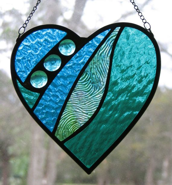 Stained Glass Heart Suncatcher Blue Teal