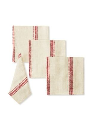 Chateau Blanc Set of 4 Buttermilk Dinner Napkins, Red