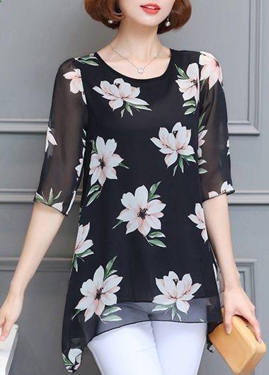 Half Sleeve Asymmetric Hem Printed Black Blouse on sale only US$29.69 now, buy cheap Half Sleeve Asymmetric Hem Printed Black Blouse at liligal.com
