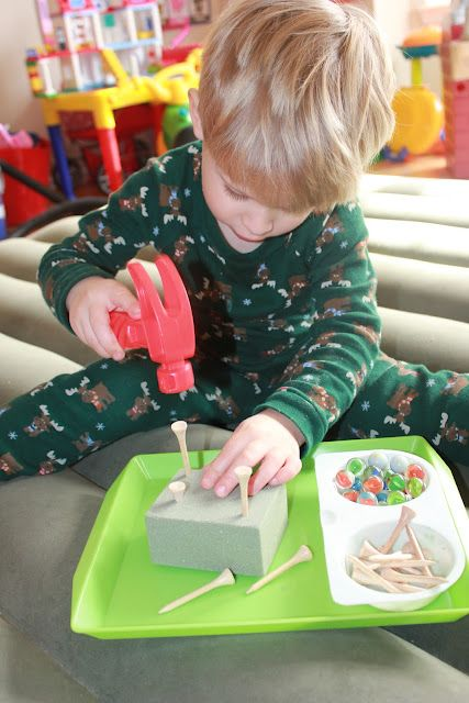 Great fine motor skill.....marbles, golf tees, hammer and foam
