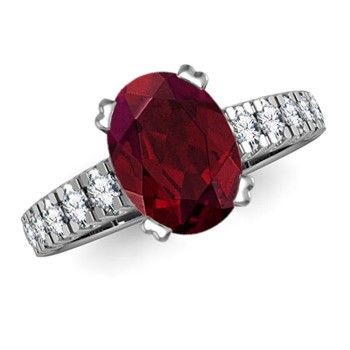 Angara Solitaire Oval Garnet Floral Ring with Diamond in Yellow Gold oC16MyX
