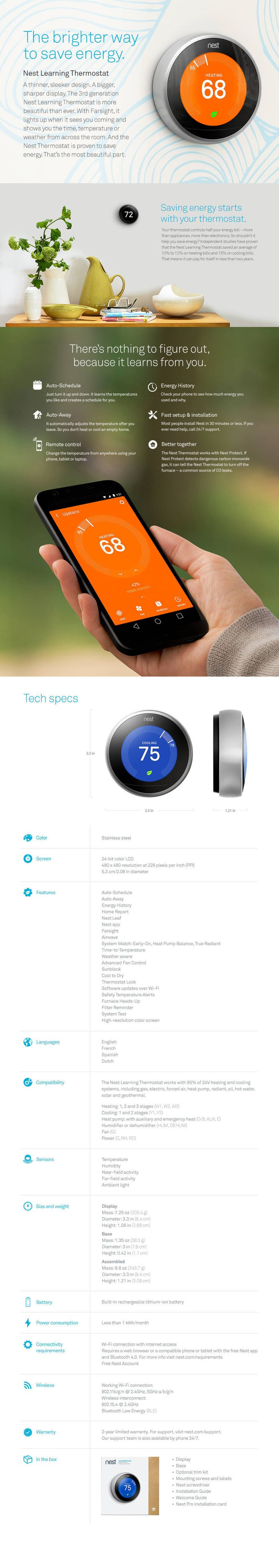 Nest Learning Thermostat, 3rd Generation - Verizon Wireless