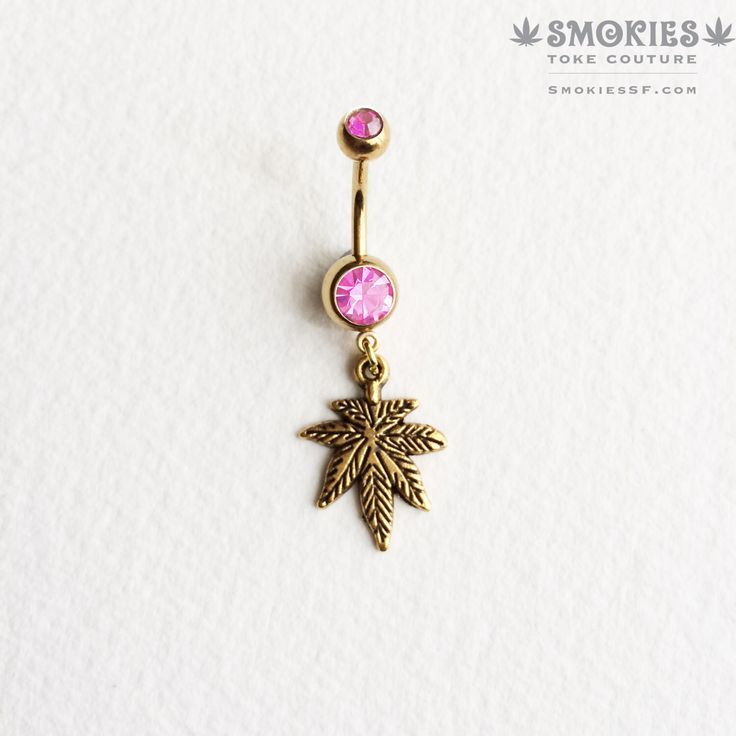 bellybutton ring, marijuana, belly button jewelry, dangle, gold belly ring, Marijuana GOLD BUBBLEGUM pink belly button ring weed by SmokiesTokeCouture on Etsy https://www.etsy.com/listing/212717711/bellybutton-ring-marijuana-belly-button