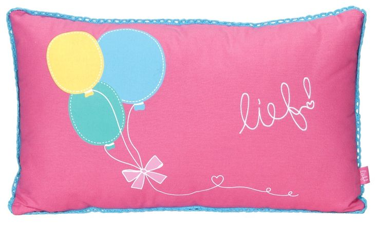 Sierkussen Roos van lief! lifestyle: met leuke print met ballonnen, voor de meisjeskamer.