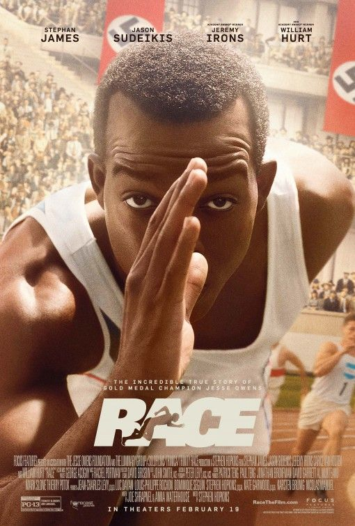 """RACE, movie about Olympic legend Jesse Owens coming out February 19. Based on the incredible true story of the legendary athletic superstar whose quest to become the greatest track and field athlete in history thrusts him onto the world stage of the 1936 Olympics, where he faces off against Adolf Hitler's vision of Aryan supremacy. """"Race"""" is an enthralling film about courage, determination, tolerance, and friendship, and an inspiring drama about one man's fight to become an Olympic legend."""