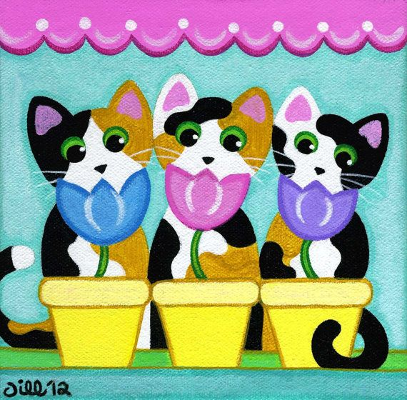 3 Calico CATS & Spring TULIPS Cat Art PRINT from Original Folk Art Painting by Jill
