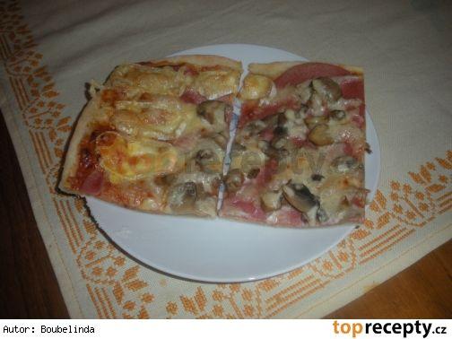 Pizza bez kynutí500 g hladké mouky 2,5 dcl vody 1 vejce 1 dcl oleje 1 lžička octa 1 lžička cukru sůl
