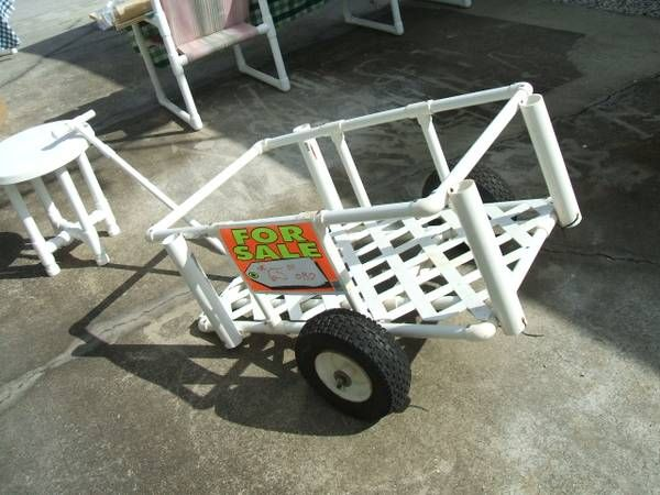 Pvc fishing cart crafty pinterest for Homemade fishing cart