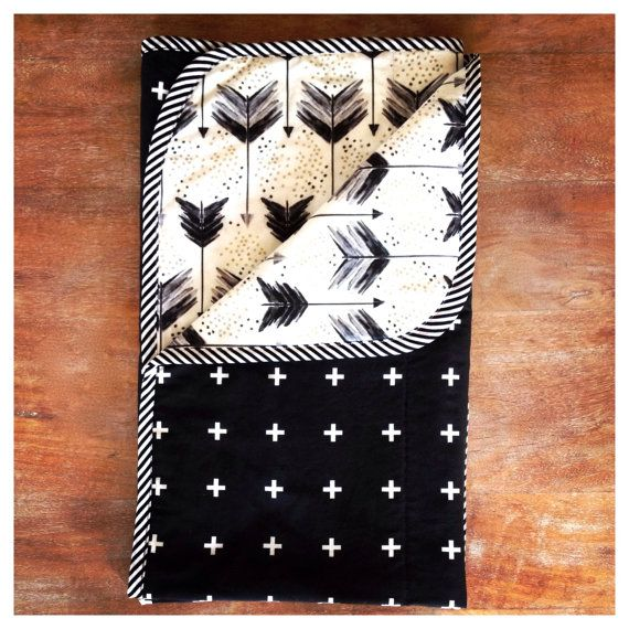 Made To Order - Reversible Crib / Cot Quilt in Black arrows and Gold splash and Black and White Plus