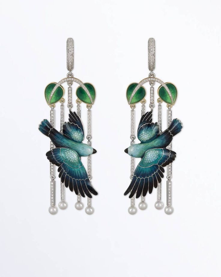 Ilgiz F. gold, diamonds and enamel Parrots earrings