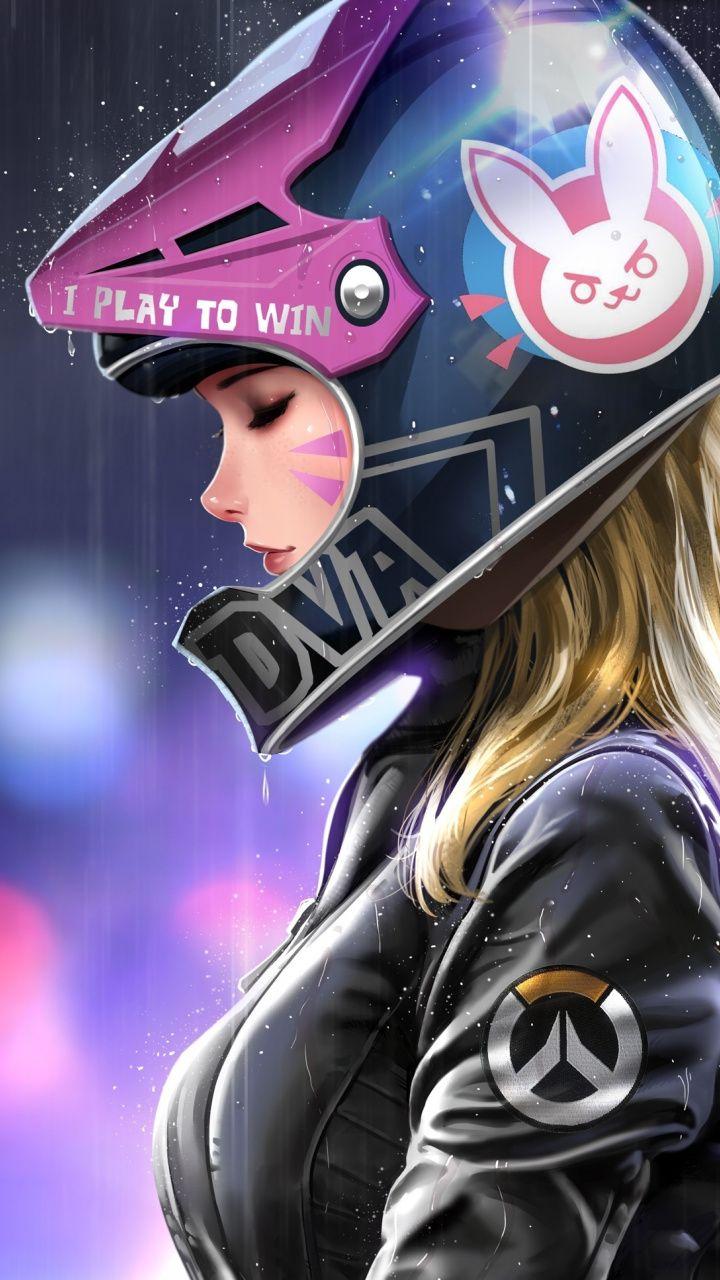 Biker D Va Beautiful Artwork 720x1280 Wallpaper Overwatch Wallpapers Girls Cartoon Art Digital Art Girl