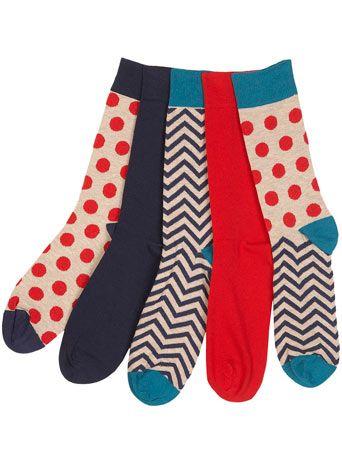 polka dot and chevron socks