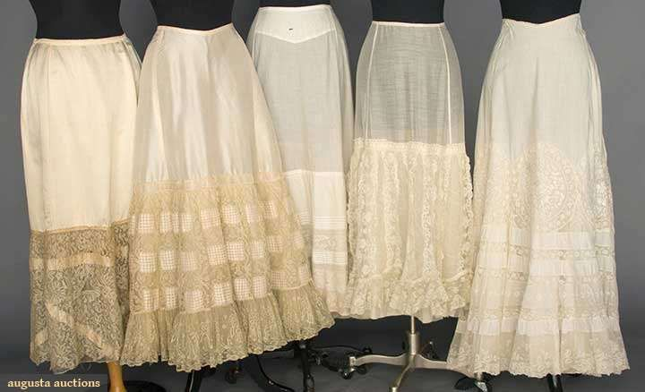 Late 19th C. Petticoats. All cream w/ deep lace flounces: 2 silk & 3 cotton