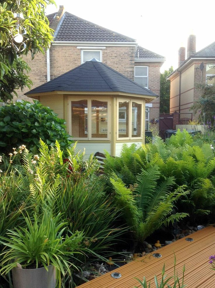 There's still room for the lovely Clyde summer house, beautiful planting and a decking area in even the most compact garden. This summer house is available for just £1719 http://bit.ly/1l2dVRL