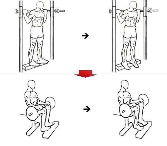Supersérie de elevações de gémeos / panturrilhas em pé e elevações de gémeos sentado
